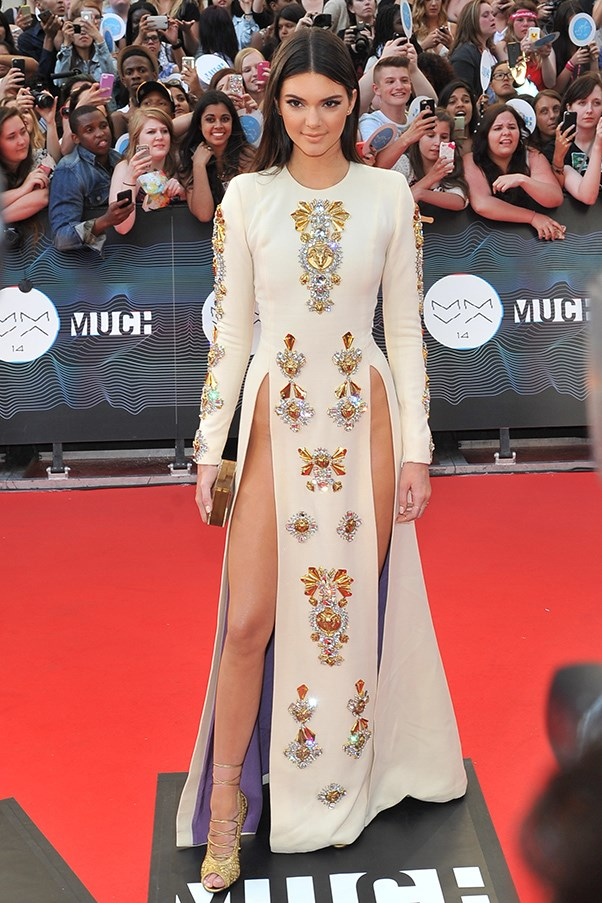 <strong>Kendall Jenner in Fausto Puglisi</strong> <br><br>2014 was definitely the year of the slit. Model-of-the-moment Kendall Jenner took this trend to new heights – literally – with not one, but two waist-high slits.