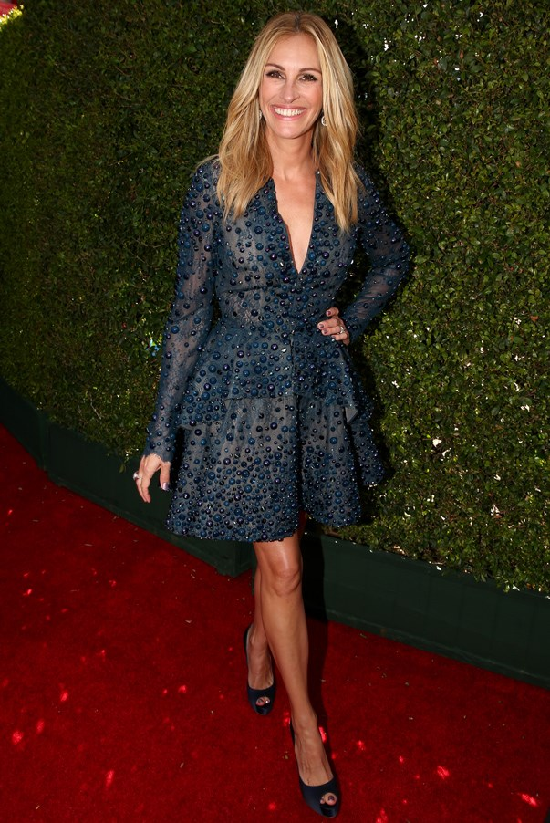 <strong>Julie Roberts in Elie Saab</strong> <br><br>Julia Roberts truly gets better with age, and at 47, that revered actress went where few actress have dared to go before – mini dress territory at a major Hollywood awards ceremony.