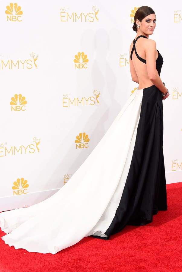 <strong>Lizzy Caplan in Donna Karan Atelier</strong> <br><br>With breakout show <em>Masters of Sex</em> under her belt, Caplan asserted herself as a serious style star in 2014. This graphic gown was one to appreciate at every angle – from the contrasting front and back to the major cut-outs.