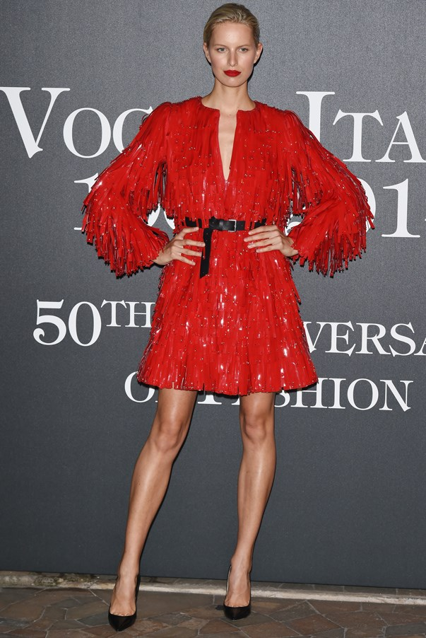 <strong>Karolina Kurkova in Armani Prive</strong> <br><br>Supermodel Karolina Kurkova got creative at a Milan Fashion Week soiree, belting a fringed couture coat for a fun evening look – we can only imagine how great she looked while dancing the night away.