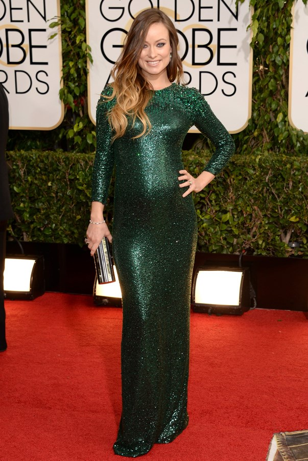 <strong>Olivia Wilde in Gucci</strong> <br><br>Forget empire-waisted gowns and whatever you thought red-carpet maternity wear is supposed to look like. Olivia Wilde raise the bar very high for mothers-to-be when she stepped out at the Golden Globes in this dazzling Gucci gown six months pregnant.