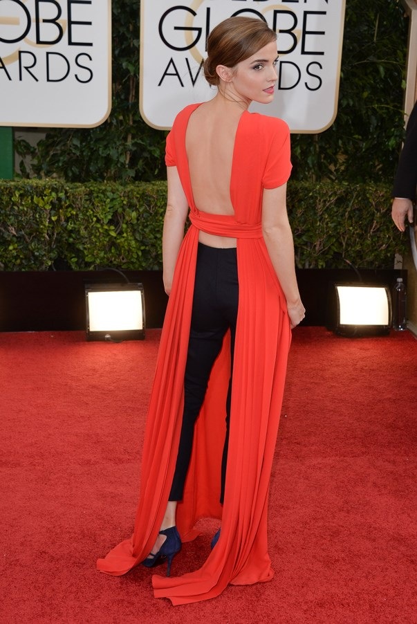 <strong>Emma Watson in Dior</strong> <br><br>The 24-year-old actress proved to be a daring woman this year, from her gender equality speech at the UN to her red carpet choices. Risk paid off when Watson took a truly modern approach to awards-season dressing at the Golden Globe Awards in a red Dior dress with black trousers underneath.