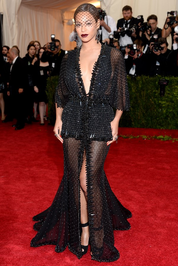 <strong>Beyoncé in Givenchy </strong> <br><br>There was a lot of old Hollywood glamour at this year's Met Gala, but Beyoncé stood out from the crowd, as per usual, by serving up a dose of gothic glam instead. Her fully beaded gown by Riccardo Tisci glistened, and a beaded veil to match was just the icing on the couture cake.