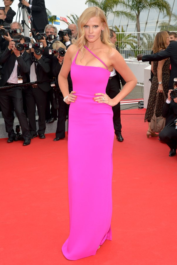 <strong>Lara Stone in Calvin Klein Collection</strong> <br><br>While minimal in design the shocking pink colour made this look a head-turner on supermodel Lara Stone during the Cannes Film Festival.