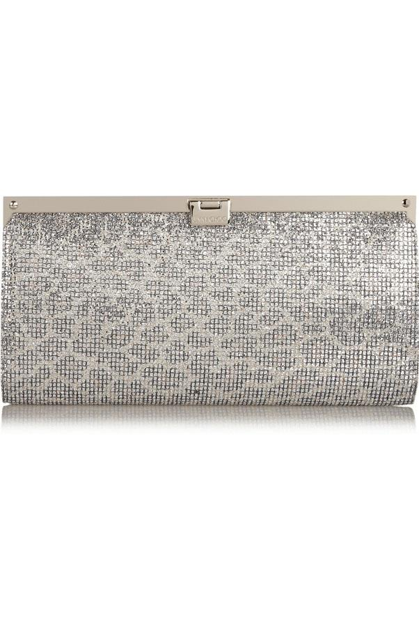 """<a href=""""http://www.net-a-porter.com/product/496990/Jimmy_Choo/camille-glitter-finished-satin-clutch"""">Jimmy Choo Camille clutch</a>, $925"""