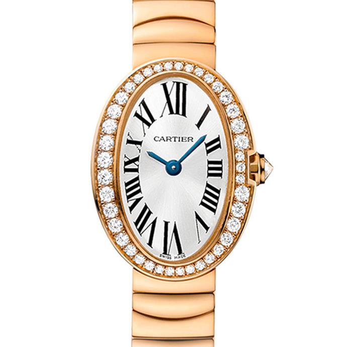 "<a href=""http://www.au.cartier.com/collections/watches/womens-watches/baignoire/wb520026-baignoire-watch-mini-model"">Cartier Baignoire pink gold watch with diamonds</a>, $38,600"