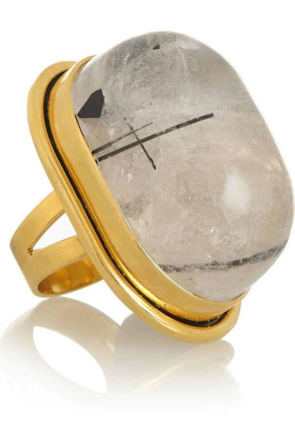 "<a href=""http://www.net-a-porter.com/product/473596/Saint_Laurent/bague-cherry-gold-plated-quartz-ring"">Saint Laurent Bague Cherry gold-plated quartz ring</a>, $648"