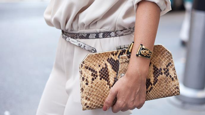 <strong>A snakeskin accessory</strong> <br>Animal print's quieter sister is having her turn in the limelight. Find leopard too showy? Make snakeskin your new go-to for this season. And next. And… you get the idea.