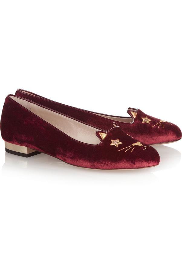 """<a href=""""http://www.net-a-porter.com/product/468955/Charlotte_Olympia/superstar-kitty-embroidered-velvet-slippers"""">Charlotte Olympia Superstar Kitty slippers</a>, $588"""