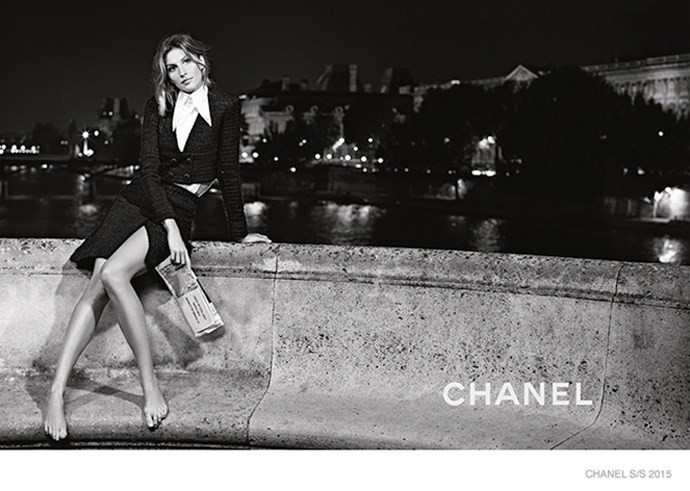 "Following on from her recent runway appearance on the Chanel catwalk and her <a href=""http://www.harpersbazaar.com.au/news/beauty-insider/2014/10/gisele-chanel-no5-film/"">new Chanel No. 5 ad</a>, Gisele Bundchen fronts the brand's spring/summer 2015 campaign in a series of stunning images captured by Karl Lagerfeld. Only Bundchen can make Chanel look this effortlessly chic (and pull off wearing it barefoot)."