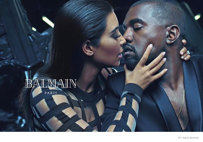 "Kim Kardashian and Kanye West rounded out the final images of Balmain's spring/summer 2015 campaign, fronting the Mario Sorrenti-photographed menswear campaign. <br><br>Said Oliver Rousteing, Balmain's creative director; ""For this Menswear campaign, I wanted to capture a moment of love. Kim and Kanye are style icons and friends. It is an honour to have them in this Balmain campaign. Together, they represent love, beauty and diversity—they are the new modernity. This is more than a campaign, it expresses something beyond clothes—it is a celebration of love and friendship. This is a new statement for Balmain."""