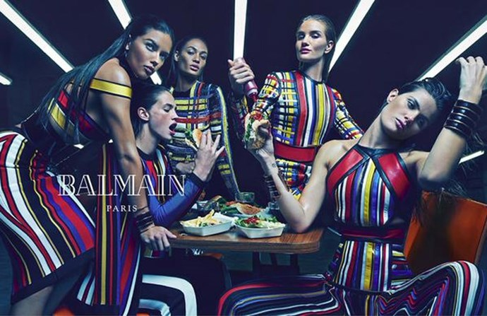 Balmain's womenswear ads rallied together an all star line-up of supermodels, including Adriana Lima, Joan Smalls, Isabeli Fontana, Rosie Huntington-Whiteley and Crista Cober looking fabulous while eating burgers and playing video games. Photographed by Mario Sorrenti.