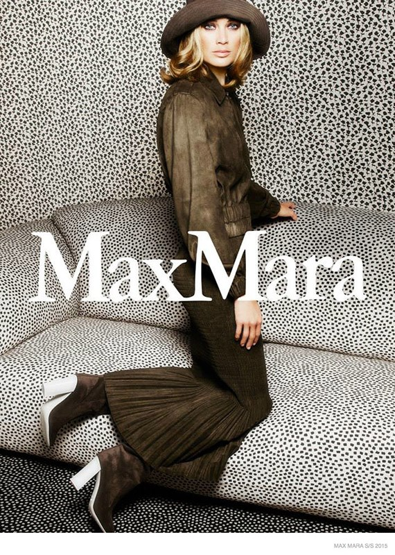 Carolyn Murphy returns for her second consecutive season as the face of Max Mara, captured lounging in a spotty room by Mario Sorrenti.