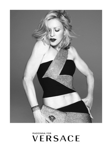 Another major celebrity moment comes in the form of Madonna, who stars in Versace's new campaign also lensed by Mert & Marcus.