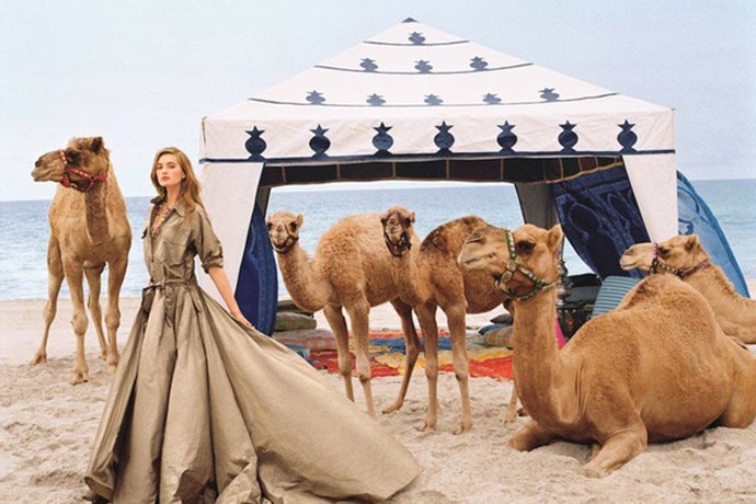 Ralph Lauren's safari-inspired spring/summer 2015 collection is taken to new heights in the brand's latest shoot. Iconic photographer Bruce Weber captured Sanne Vloet and no less than five camels for the campaign.