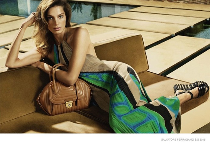 Daria Werbowy brings effortless-cool to the house of Salvatore Ferragamo once again, photographed by Mert & Marcus in the poolside campaign.