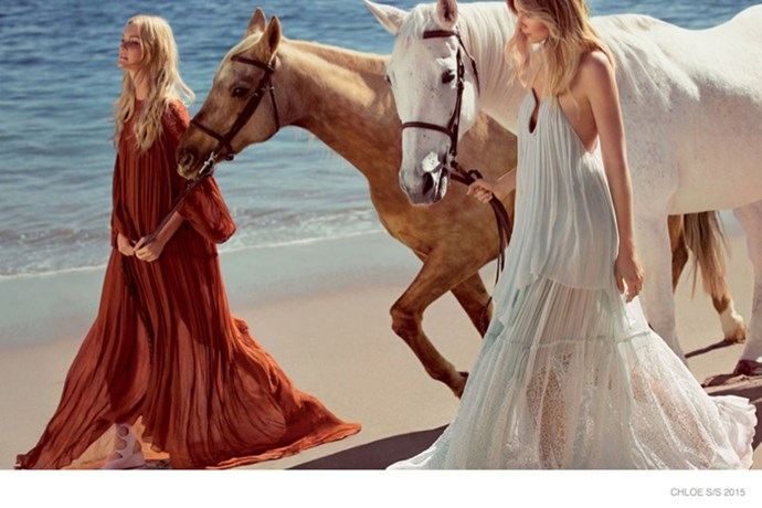 "Caroline Trentini and Eniko Mihalik epitomise the Chloé bohemian dream in the brand's latest campaign, lensed by Inez & Vinoodh. <br><br>""This season I was searching for a truly iconic 70's beauty. Both Caroline and Eniko have that look, so indicative of the 70's era; the unkempt hair, fresh natural radiance, soft freckles and sun-blushed skin that reminds me so much of the women of that period,"" Chloé creative director Clare Waight Keller said of the campaign."