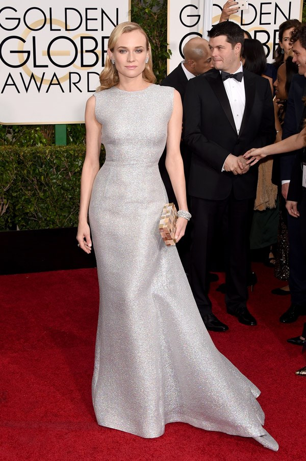"""<strong>Diane Kruger in Emilia Wickstead</strong> <br><br>""""Adore BAZAAR covergirl Diane Kruger in silver Emelia Wickstead. The spring 2015  runway dress has been fitted to Kruger's curves and screams Hollywood star."""" <br>– Kellie Hush, Editor-In-Chief"""