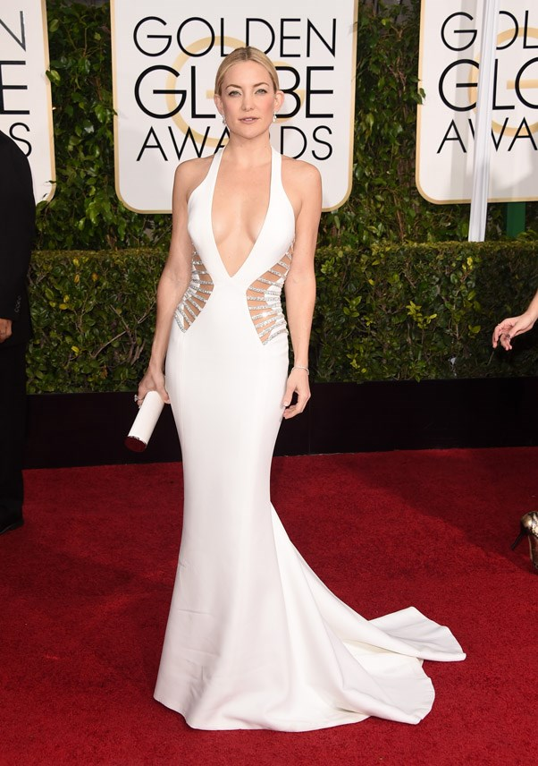 """<strong>Kate Hudson in Atelier Versace</strong> <br><br>""""That's no clutch: K-Hud's holding the sacred scroll on how to burn everyone else off the carpet in a tightie whitey. The up-do clinches it. Elegant. A curvy blow dry would have tipped all the cling and skin into different territory"""" <bR>- Tracey Withers, Acting Beauty Editor"""