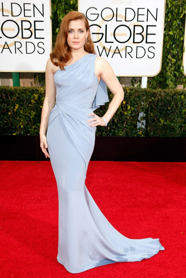 """<strong>Amy Adams in Atelier Versace</strong> <br><br>""""Odd colour choice, a little like a bar of soap."""" <br>- Karla Clarke, Junior Fashion Editor"""