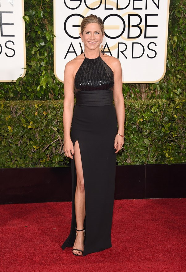 """<strong>Jennifer Aniston in Saint Laurent</strong> <br><br>""""Is this Saint Laurent gown a fashion game changer? God no. But it looks good, right? That's because Jennifer Aniston knows what works for her and sticks to it (case in the point that neckline which has been a favourite since her <em>Friends </em>days)."""" <br>- Clare Maclean, Fashion Features Editor"""
