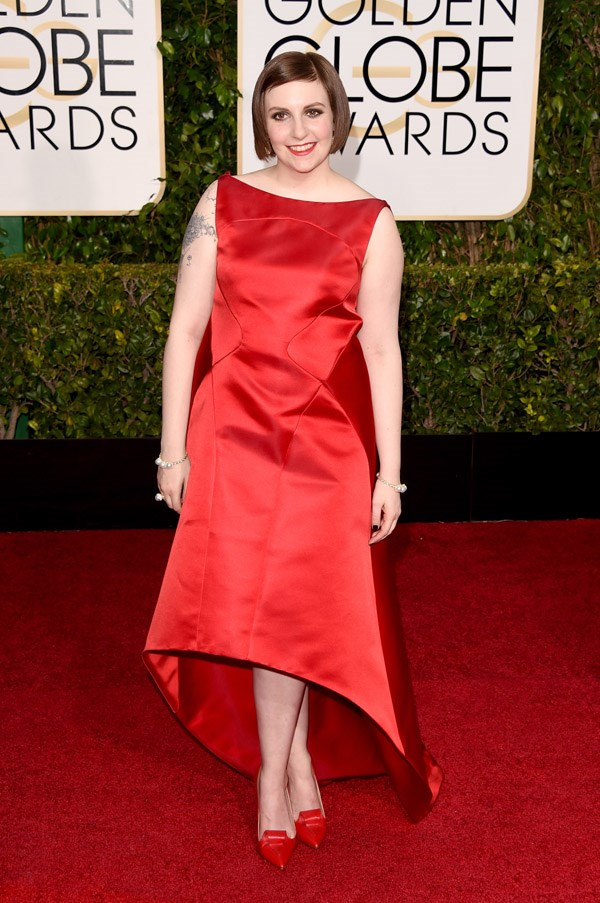 """<strong>Lena Dunham in Zac Posen</strong> <br><br>""""Lena is looking her best in that Zac Posen number – classic and quirky at the same time."""" <br>- Stephanie Pembroke"""