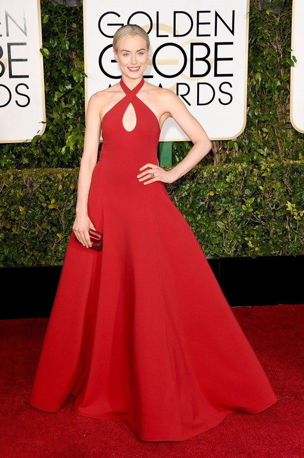 """<strong>Taylor Schilling in Ralph Lauren</strong> <br><br>""""Schilling's Ralph Lauren doesn't quite match the magic of Lupita Nyong'o's Ralph Lauren at the Globes last year - but whatever, I kind of love this."""" <br>- Clare Maclean, Fashion Features Director"""