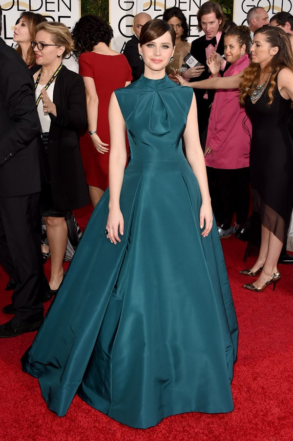 """<strong>Felicity Jones in Dior Couture</strong> <br><br>""""Love the colour and the elegance of Felicity's dress, not stuffy with less x-factor – which is nice to see.  This dress shows confidence and good taste from the actress."""" <br>– Naomi Smith, Acting Fashion Director"""
