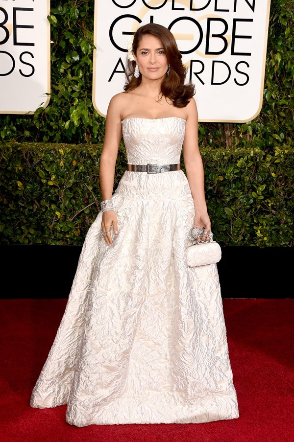 """<strong>Salma Hayek in Alexander McQueen</strong> <br><br>""""Yes to the McQueen, yes. Although Coco Chanel's famous line about taking off one item before leaving the house could definitely be applied here."""" <br>- Clare Maclean, Fashion Features Editor"""
