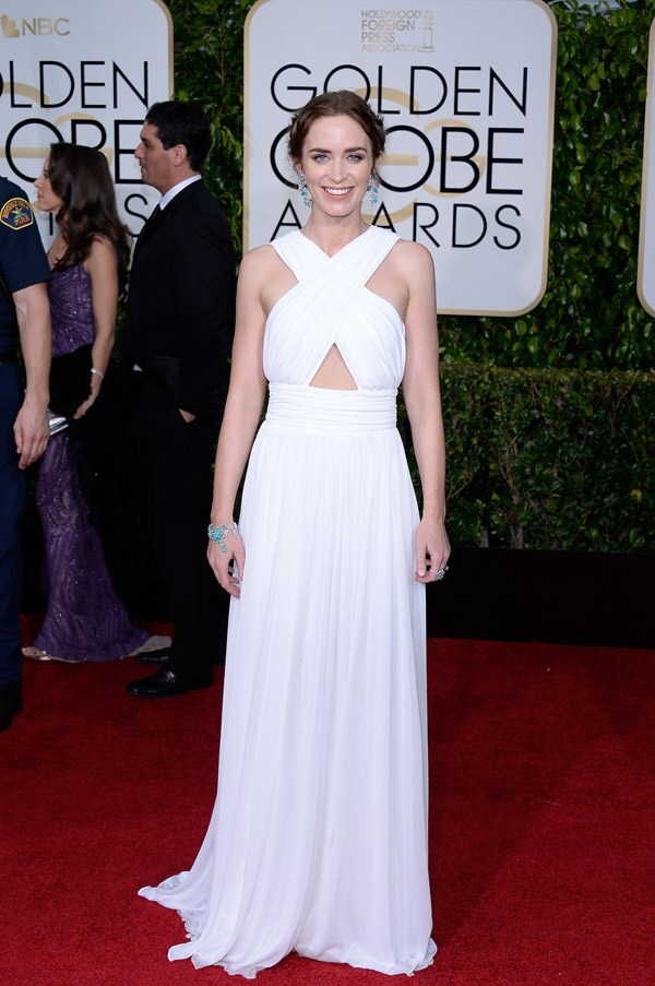 """<strong>Emily Blunt in Michael Kors</strong> <br><br>""""That alluring Bermuda-triangle of skin helps pull aaaaall that folded out of toga town and into proportion. She always gets it right."""" <br>- Tracey Withers, Acting Beauty Editor"""