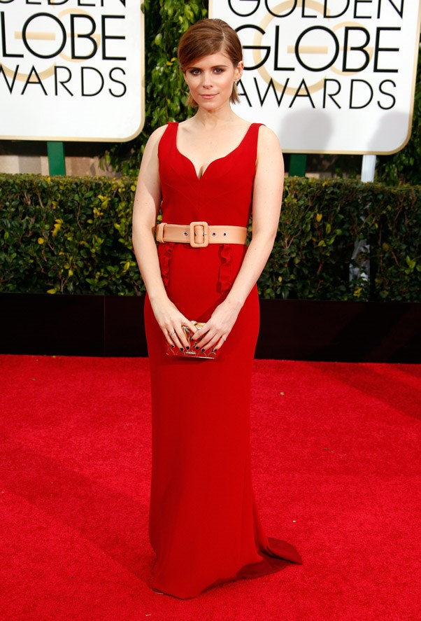 """<strong>Kate Mara in Miu Miu</strong> <br><br>""""Belt not needed for red carpet. Also the red is very similar to the carpet."""" <br>- Karla Clarke, Junior Fashion Editor"""