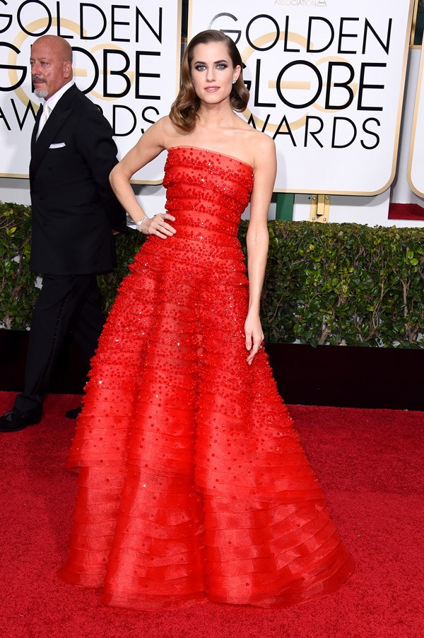 """<strong>Allison Williams in Armani Prive</strong> <br><br>""""Great to see Alison Williams dressed so elegantly. Her youth keeps it fresh, and a dress like this needs her height and great body – and also perfectly balanced hair and make-up, which she's done here."""" <br>– Naomi Smith, Acting Fashion Director"""