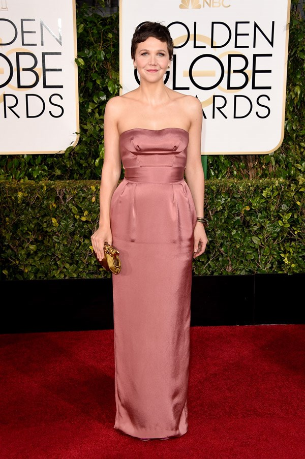 """<strong>Maggie Gyllenhaal in Miu Miu</strong> <br><br>""""I really love the rose pink hue of her Miu Miu dress."""" <br>– Caroline Tran, Fashion Assistant"""