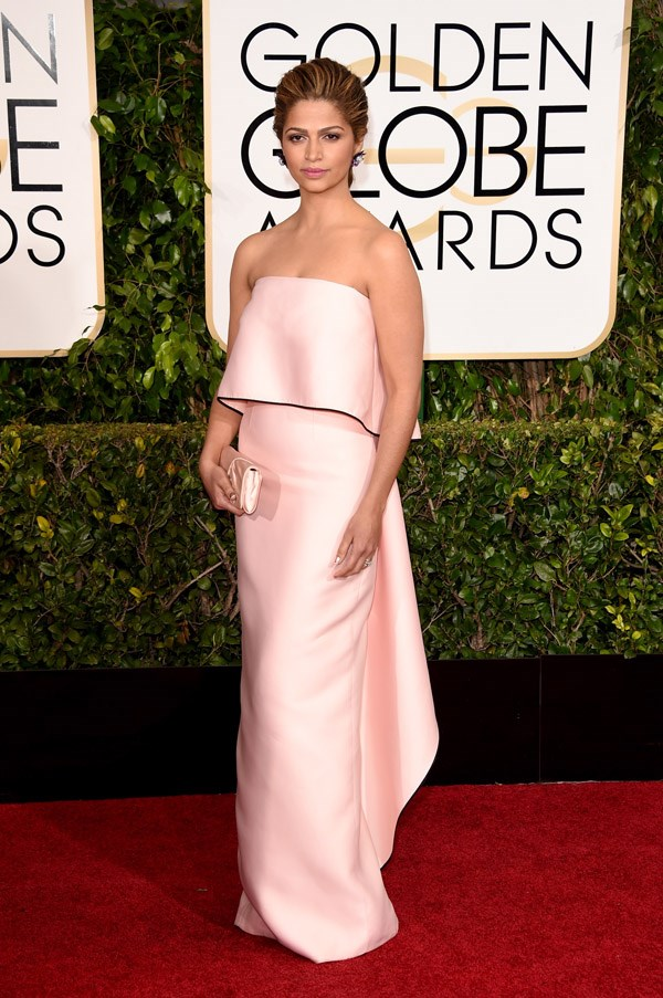 """<strong>Camila Alves in Monique Lhuillier </strong> <br><br>""""In a sea of red carpet over-the-top glitz, Camila Alves proves that chic minimalism is a winner. A less matchy-matchy clutch would have completed the look."""" <br>– Louisa De Kievit, Editorial Coordinator/Bookings Editor"""