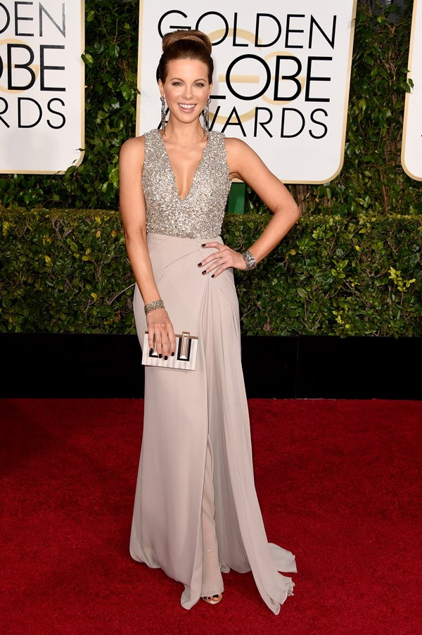 """<strong>Kate Beckinsale in Elie Saab</strong> <br><br>""""I feel like she's had the same hair for the last 10 years?"""" <br>- Karla Clarke, Junior Fashion Editor"""