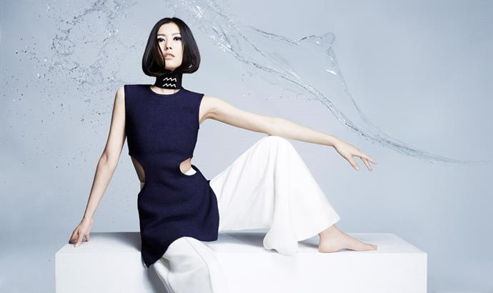 <strong>ACQUARIUS</strong> <BR><em>Liu Wen </em>in <em>Céline </em>top and pants.