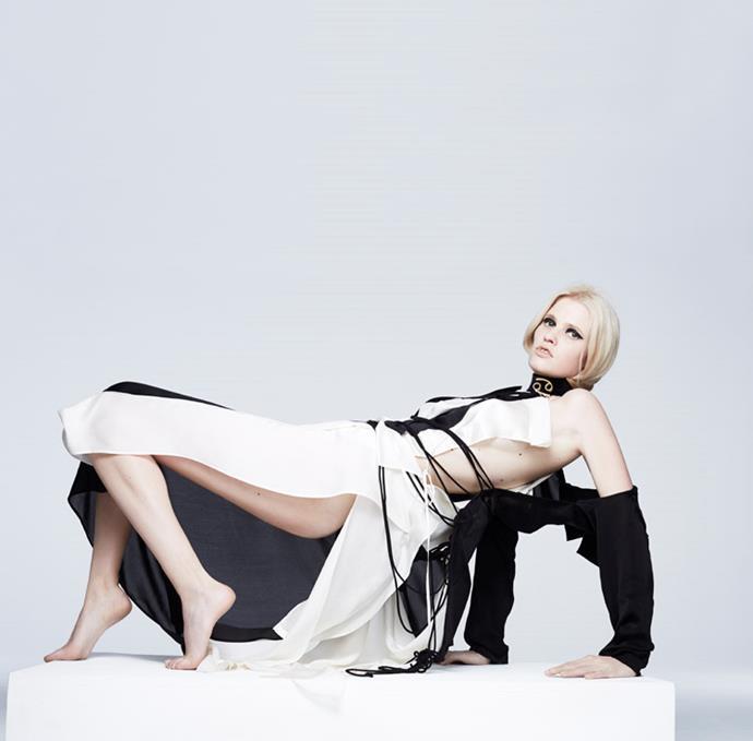 <strong>CANCER</strong> <BR><em>Lara Stone </em>in <em>Yohji Yamamoto</em> jacket, dress and top.