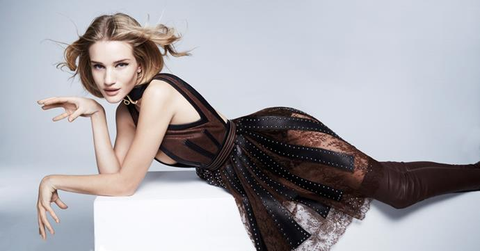 <strong>LEO</strong> <BR><em>Rosie Huntington-Whiteley </em>in <em>Givenchy by Riccardo Tisci</em> dress, belt, briefs and boots.