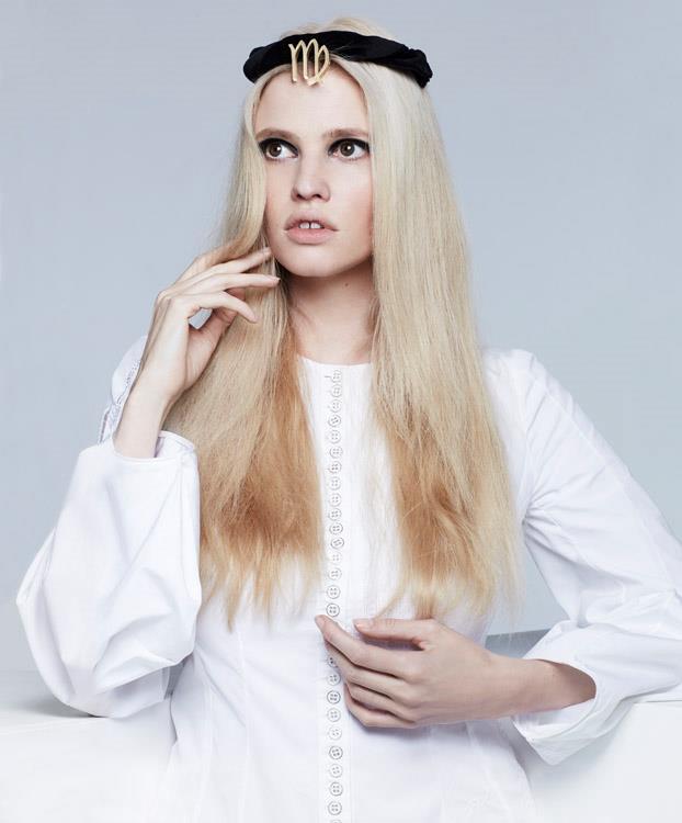 <strong>VIRGO</strong> <BR><em>Lara Stone </em>in <em>Christian Dior</em> dress.