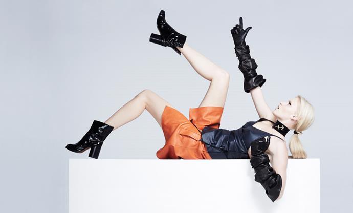 <strong>SAGITTARIUS</strong> <BR><em>Lara Stone </em>in <em>J.W. Anderson</em> dress and gloves; Maison Martin Margiela boots.
