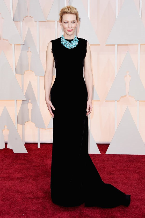 It's a surprise to see Cate Blanchett on the red carpet in anything other than Giorgio Armani, but this Masion Margiela Couture, while a little on the boring side, was a great choice for the ever-elegant star. A statement turquoise necklace took the look from simple to stylish.