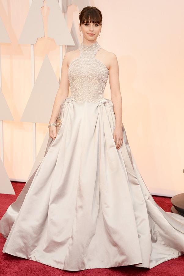 Felicity Jones channelled her inner-princess in this custom Alexander McQueen dress.
