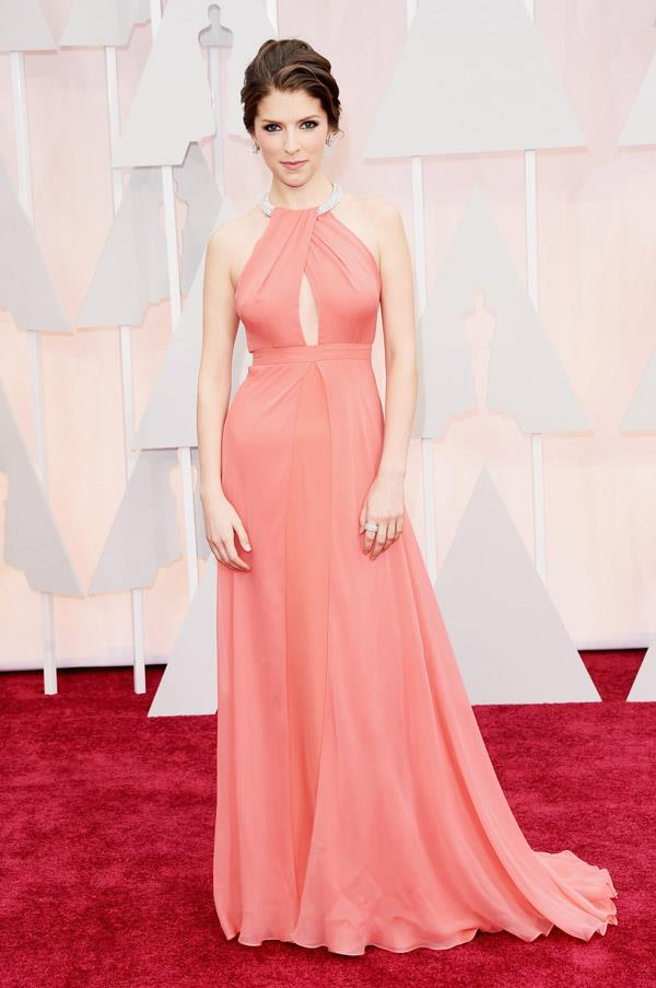 Anna Kendrick complemented her peaches-and-cream skin tone with a coral Grecian dress by Thakoon.