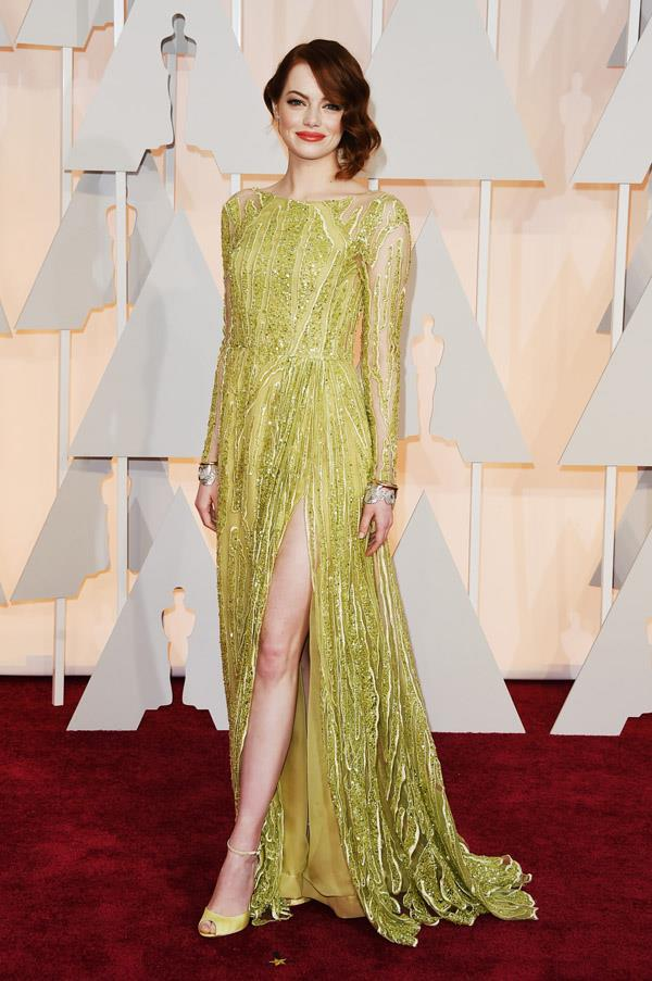 The lime green colour of Emma Stone's Elie Saab dress takes it a step away from your typical embellished red carpet gown.