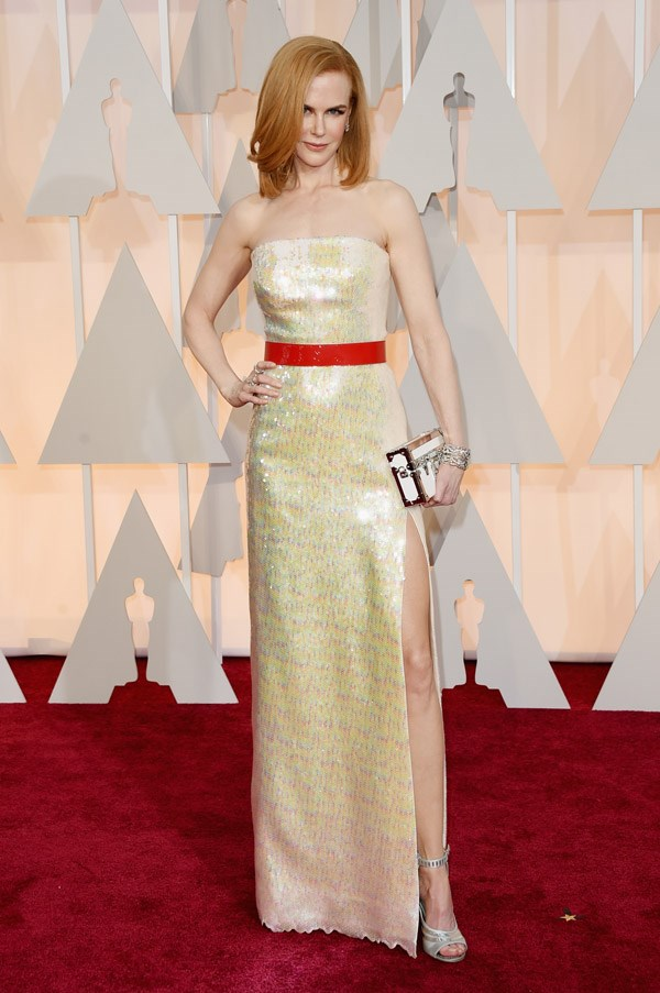 Nicole Kidman's shimmering Louis Vuitton column dress is a show-stopper.