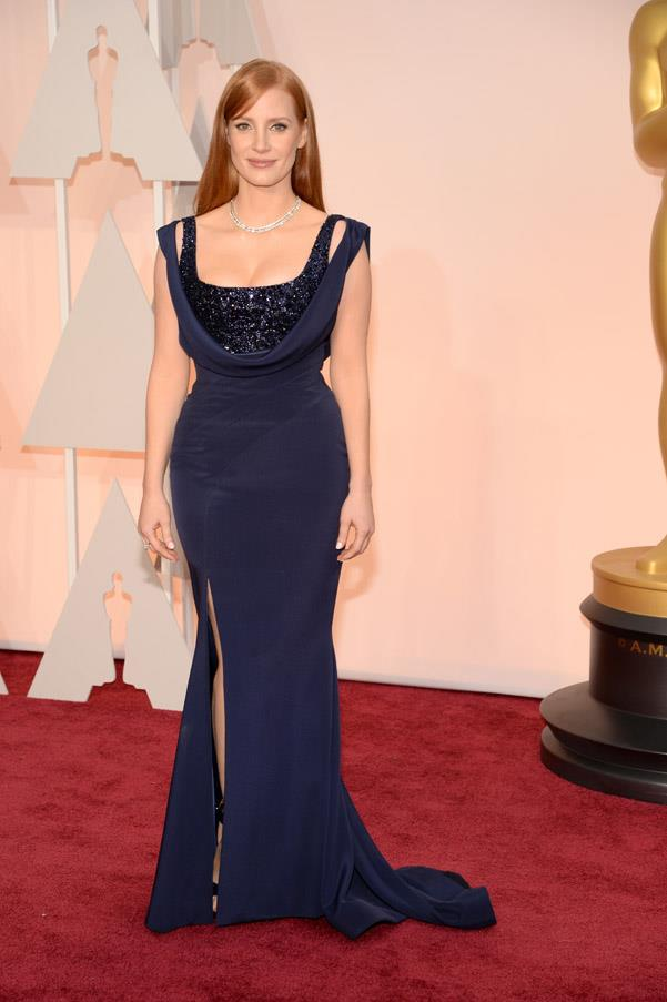 Jessica Chastain is like a real-life Jessica Rabbit in this custom navy Givenchy gown.