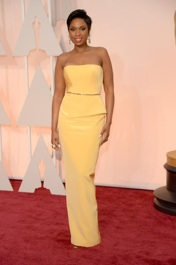 Jennifer Hudson went for simple and chic in Ramona Keveza.
