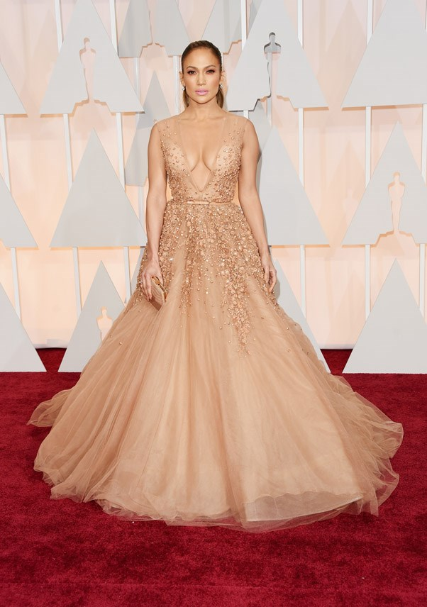 Jennifer Lopez is absolutely breathtaking in Elie Saab - like a real-life Oscars statue.