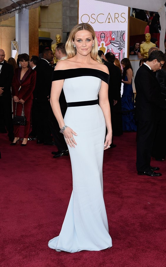 Reese Witherspoon's eggshell blue gown by Tom Ford is the epitome of timeless elegance.