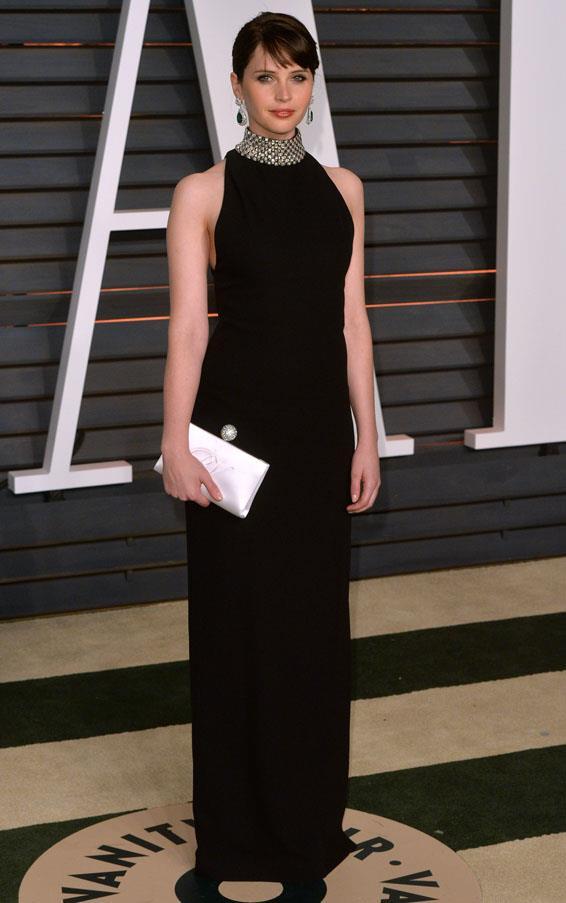 Felicity Jones looking sleek in Saint Laurent.